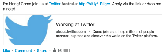 Screenshot of a LinkedIn post about jobs available at Twitter